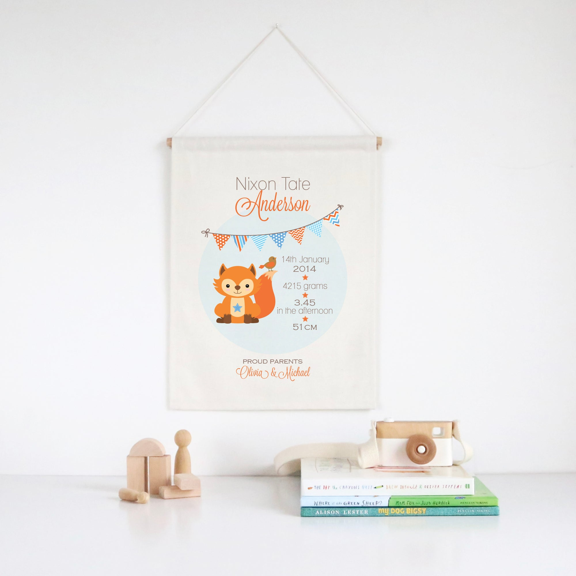 Fox Birth Print Wall Banner