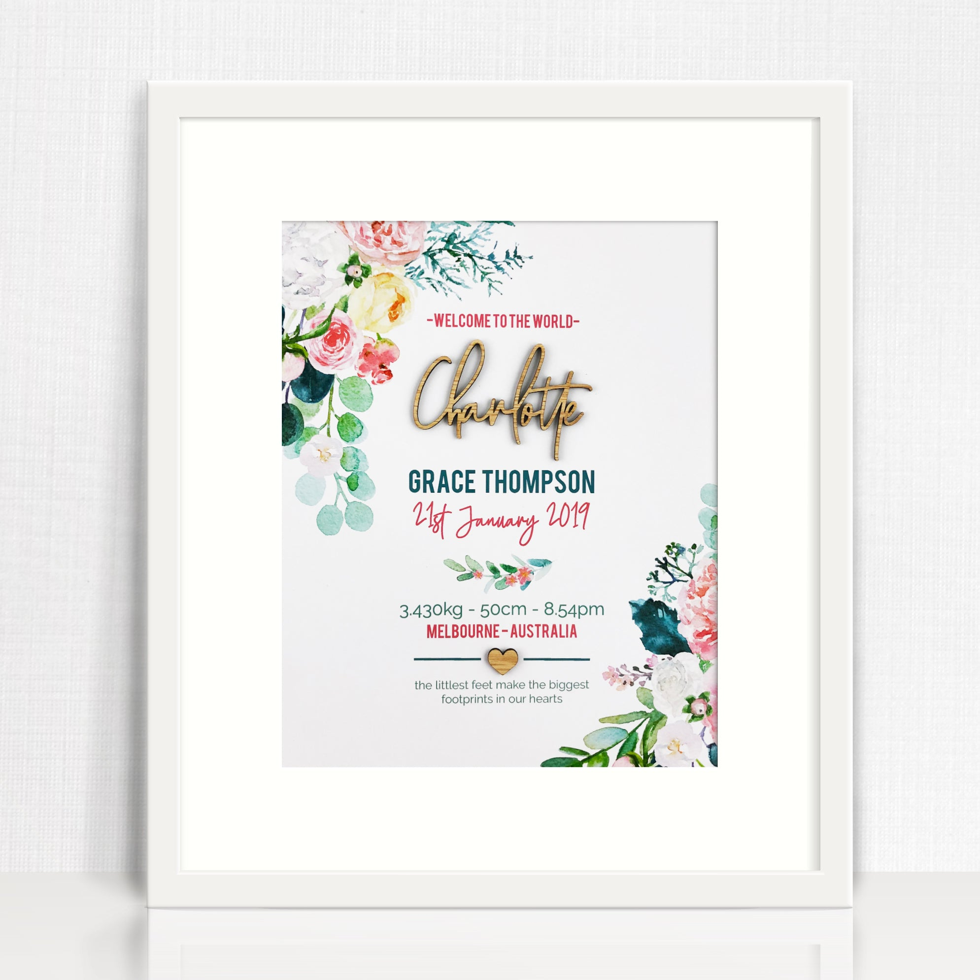 Bamboo (2 colour options) Watercolour Blooms Birth Print