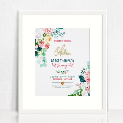Mirror (Gold) Watercolour Blooms Birth Print