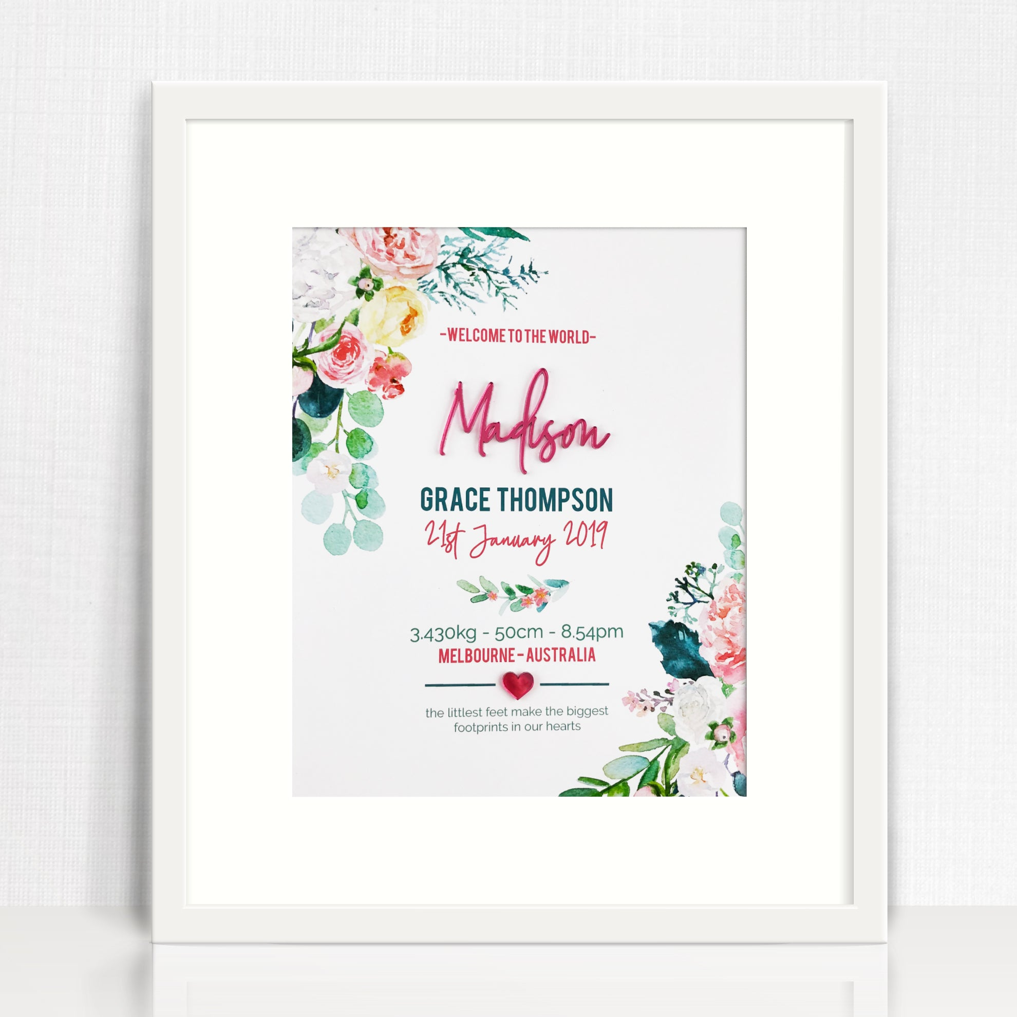 Mirror (Pink) Watercolour Blooms Birth Print