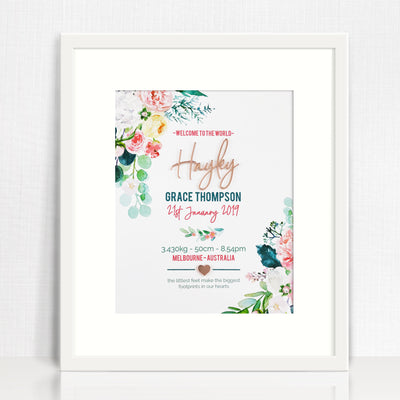 Mirror (Rose Gold) Watercolour Blooms Birth Print