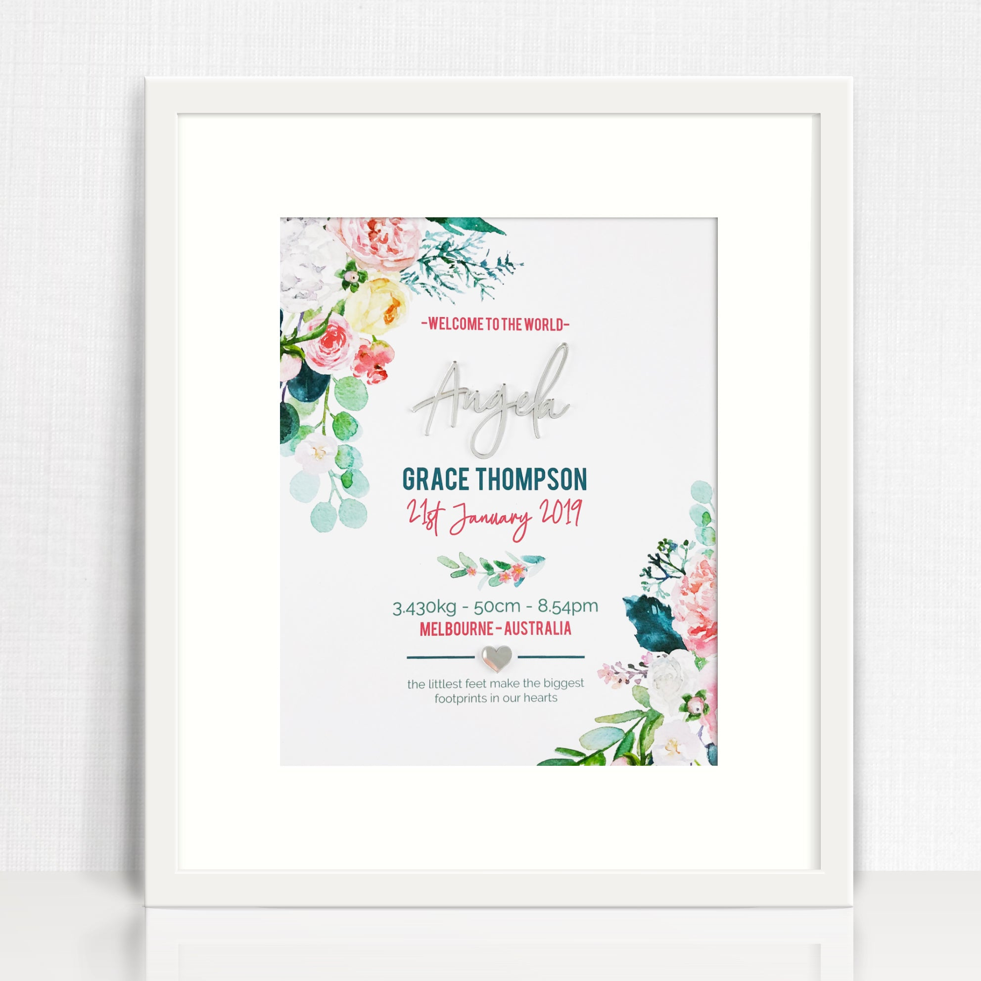 Mirror (Silver) Watercolour Blooms Birth Print