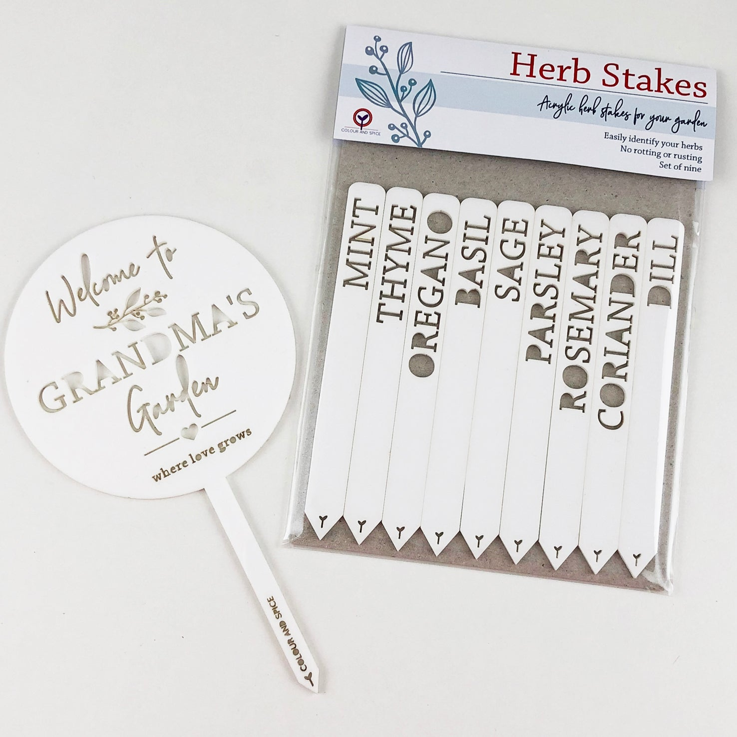 Personalised Lasercut Herb Planter & Herb Stakes Pack