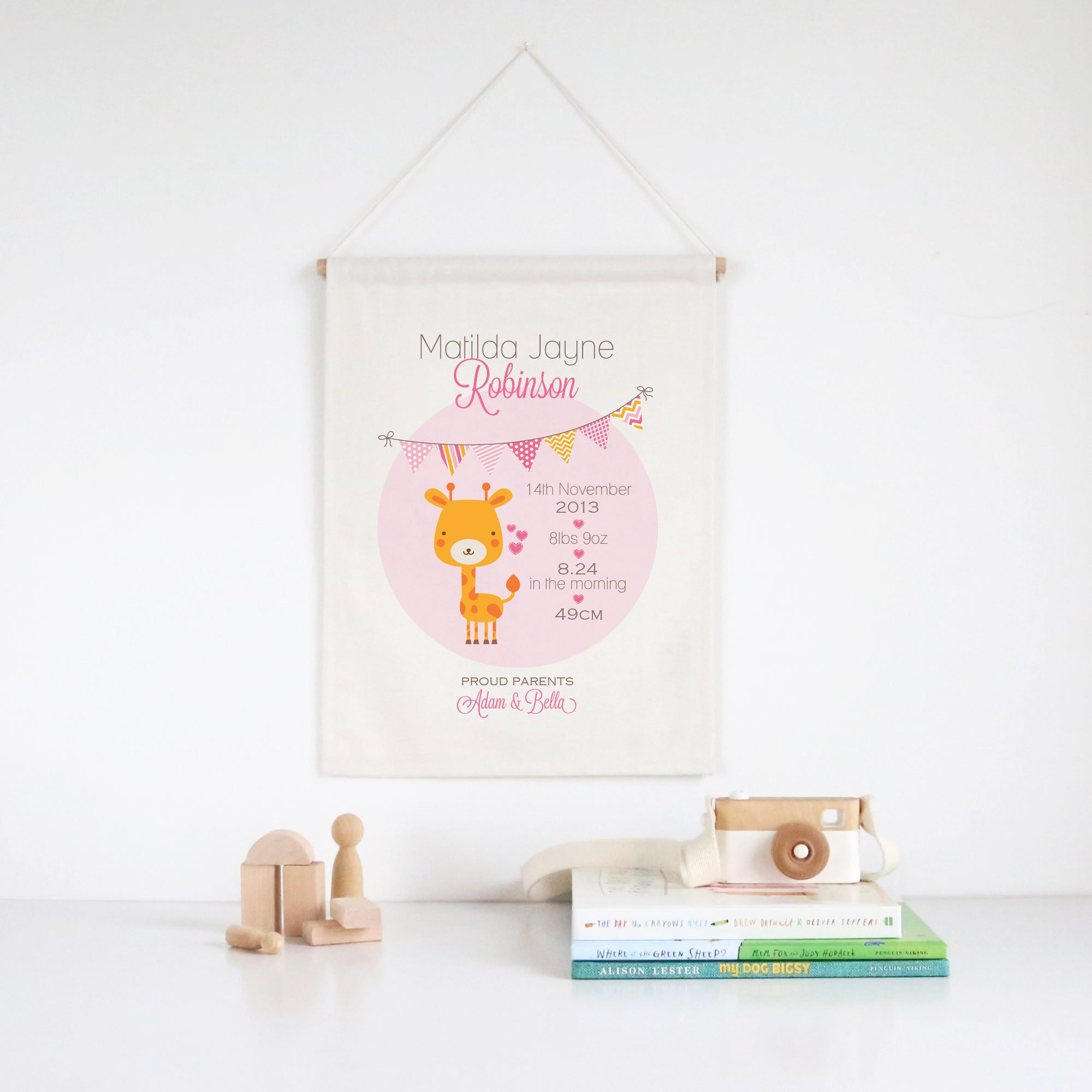 Giraffe Birth Print Wall Banner