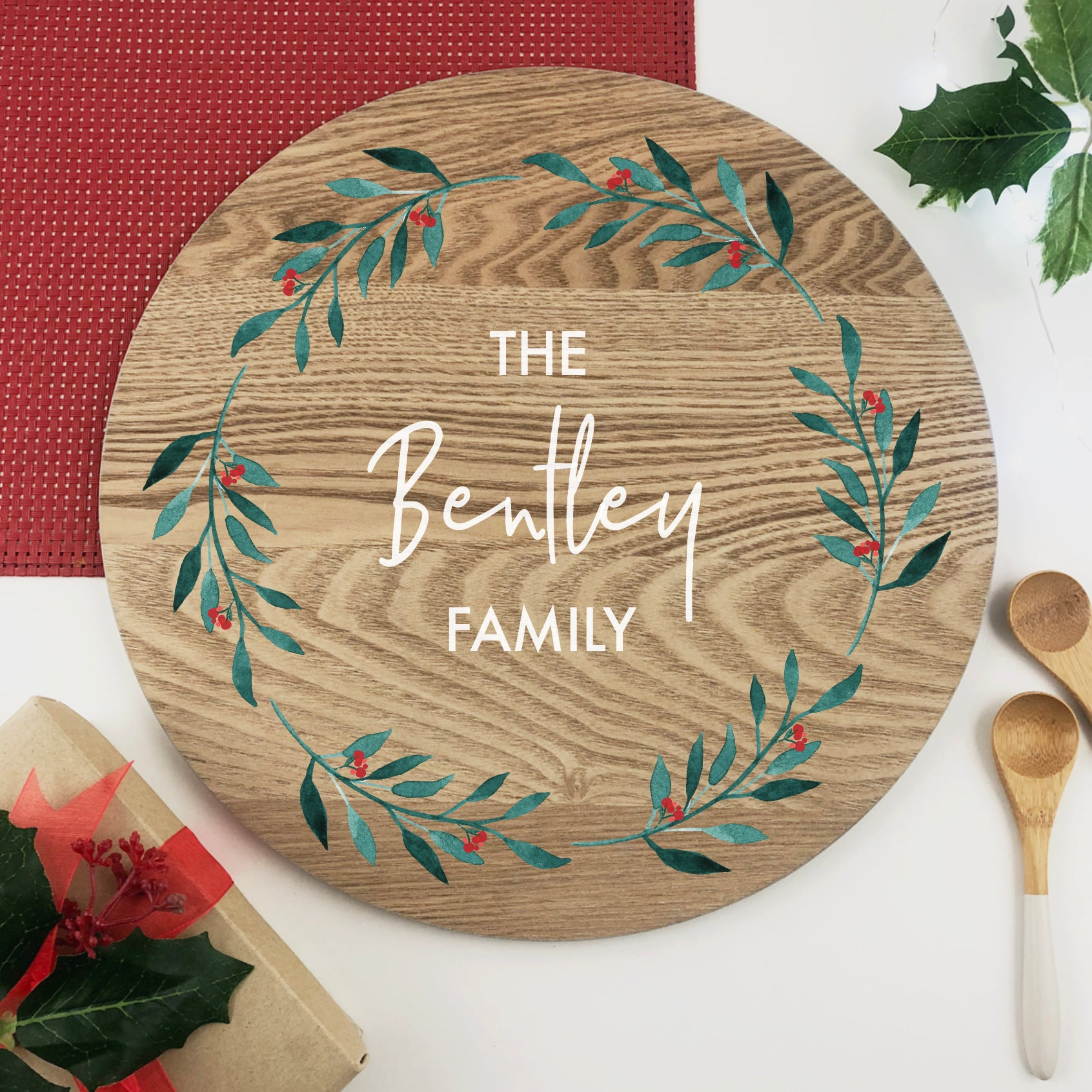 Personalised Festive Wreath Grazing Platter