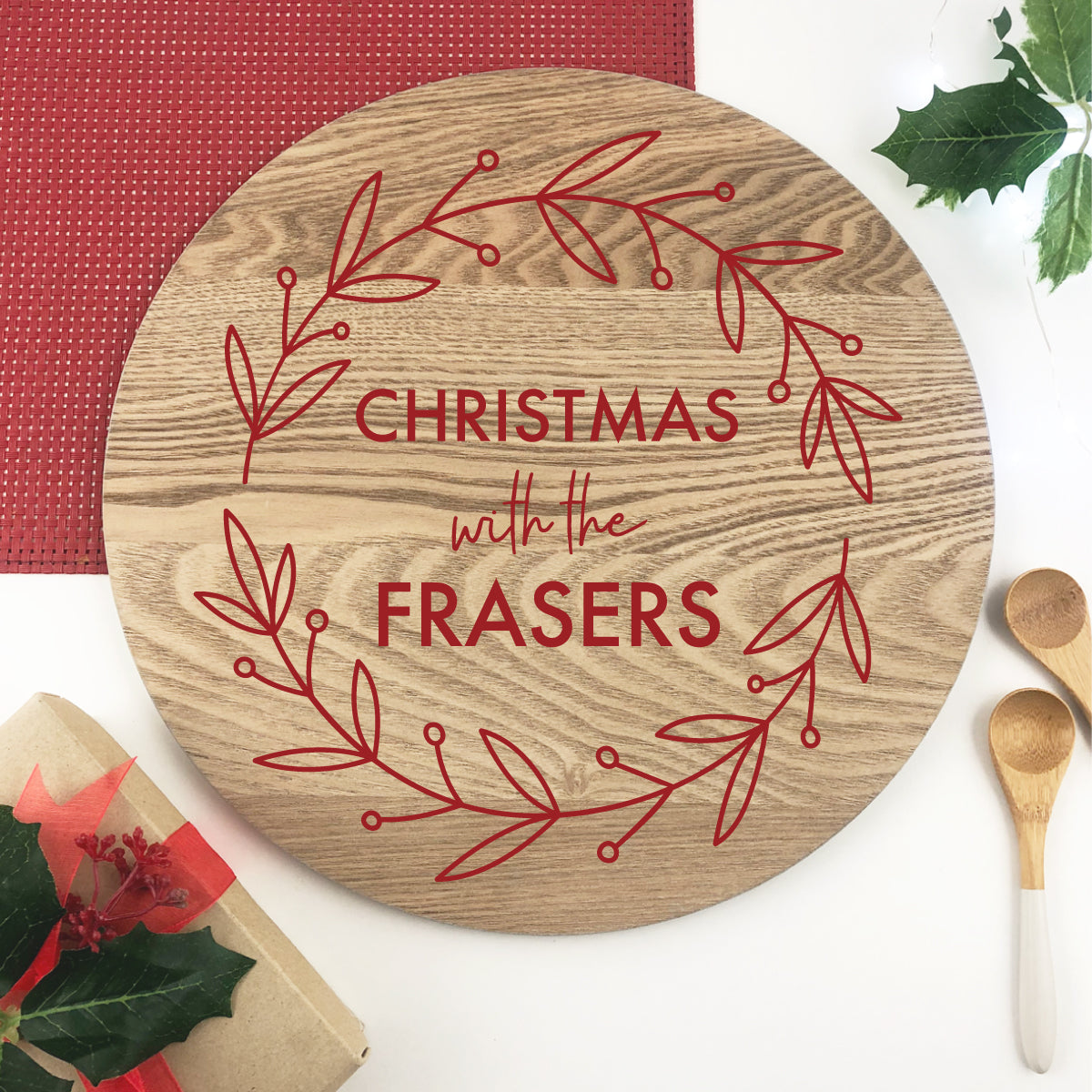 Personalised Red Wreath Grazing Platter