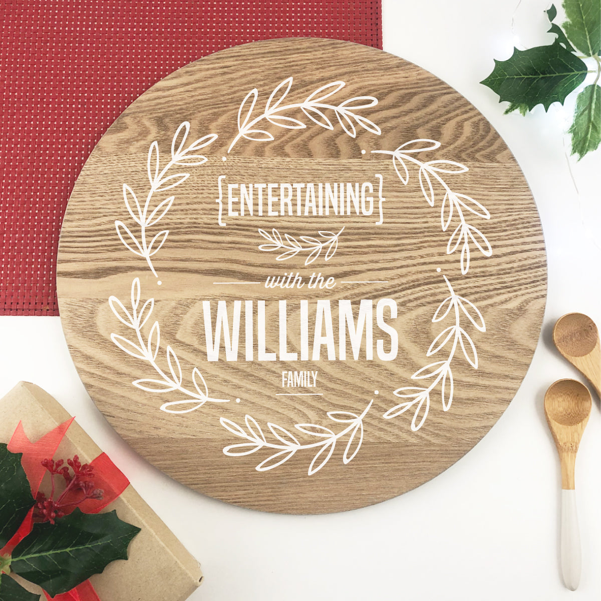 Personalised White Wreath Grazing Platter