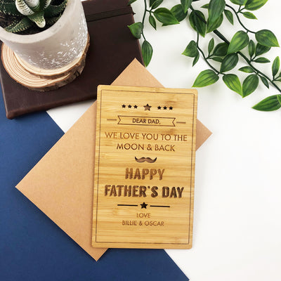 Father's Day Bamboo Greeting Card & Envelope