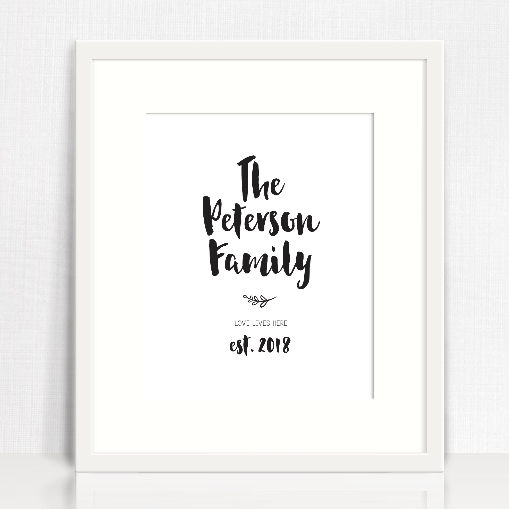 Handwritten Family Establishment Personalised Print