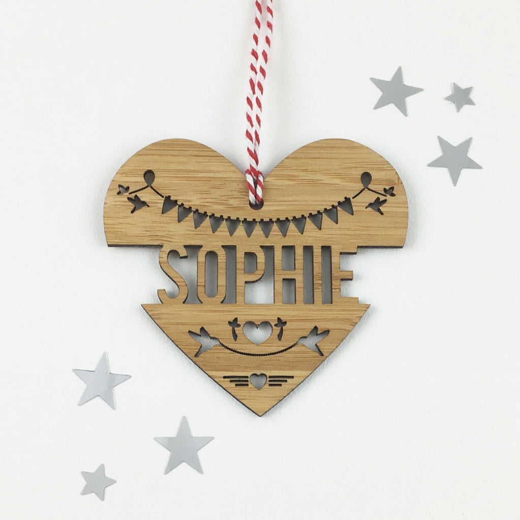Heart Name Bamboo Detailed Ornament