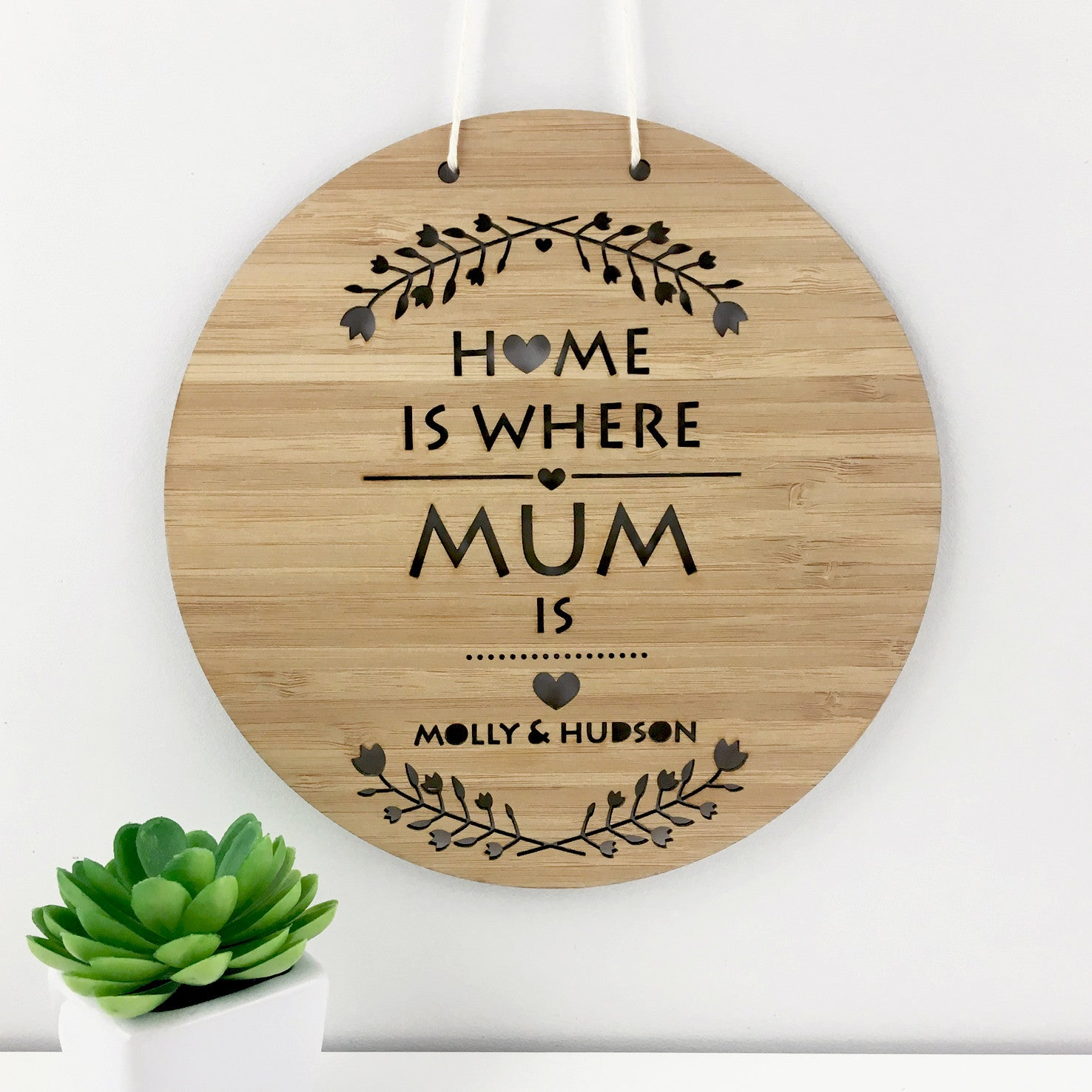 Home Is Where Mum Is Personalised Wall Hanging