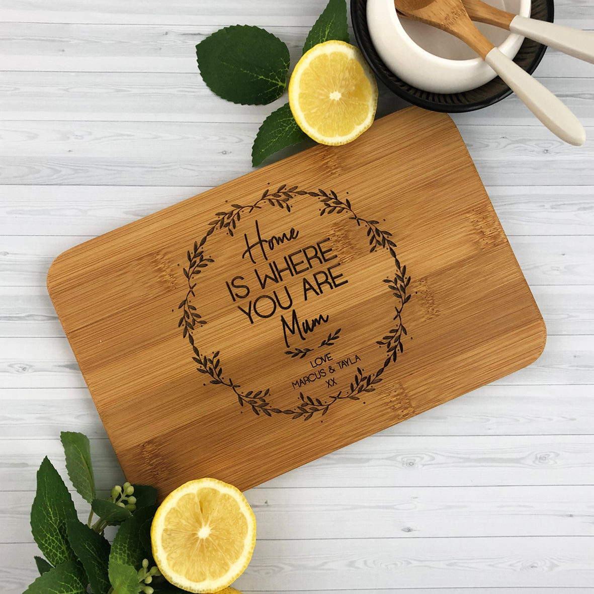 Home Is Where You Are Bamboo Serving Board