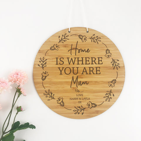 Home Is Wherever I'm With You Personalised Wall Hanging