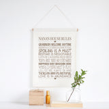 Grandparents House Rules Personalised Wall Banner