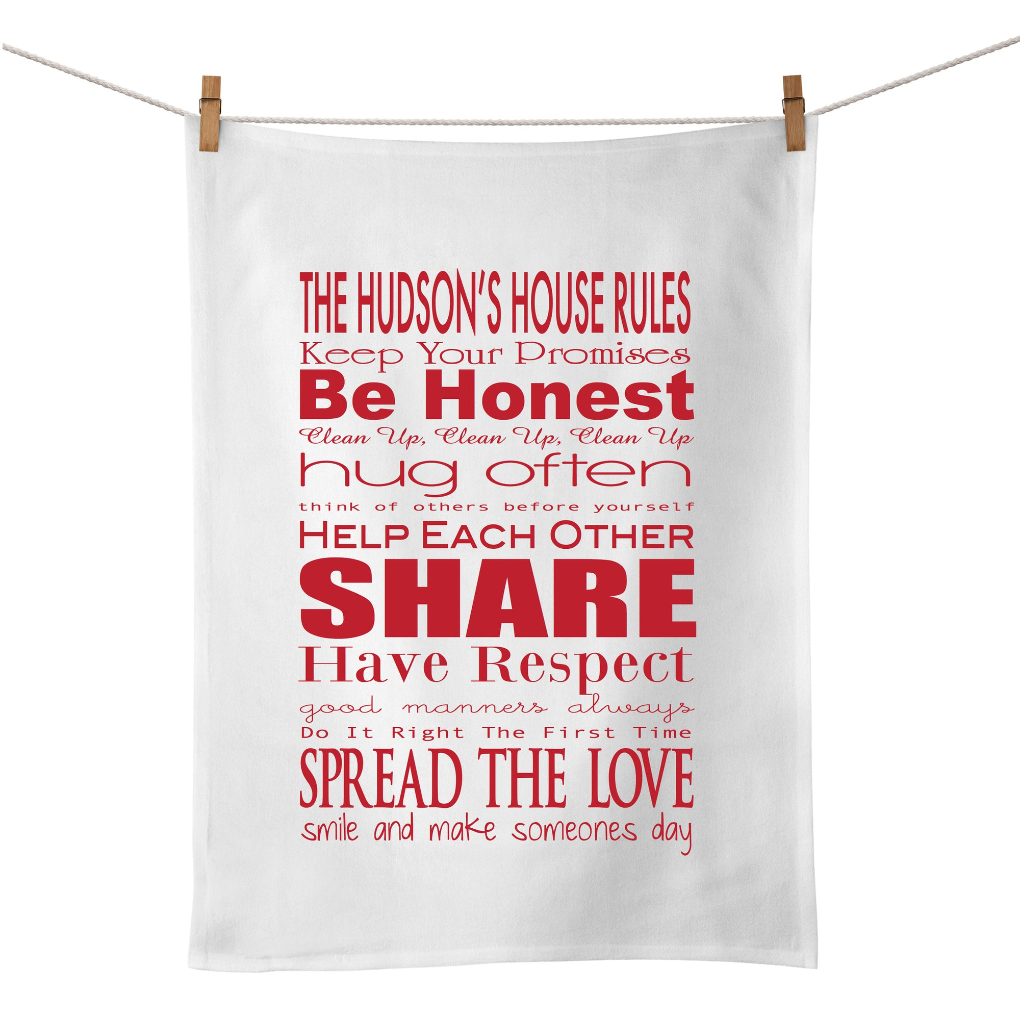 House Rules Tea Towel