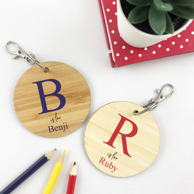 Red Initials Personalised Bag Tag