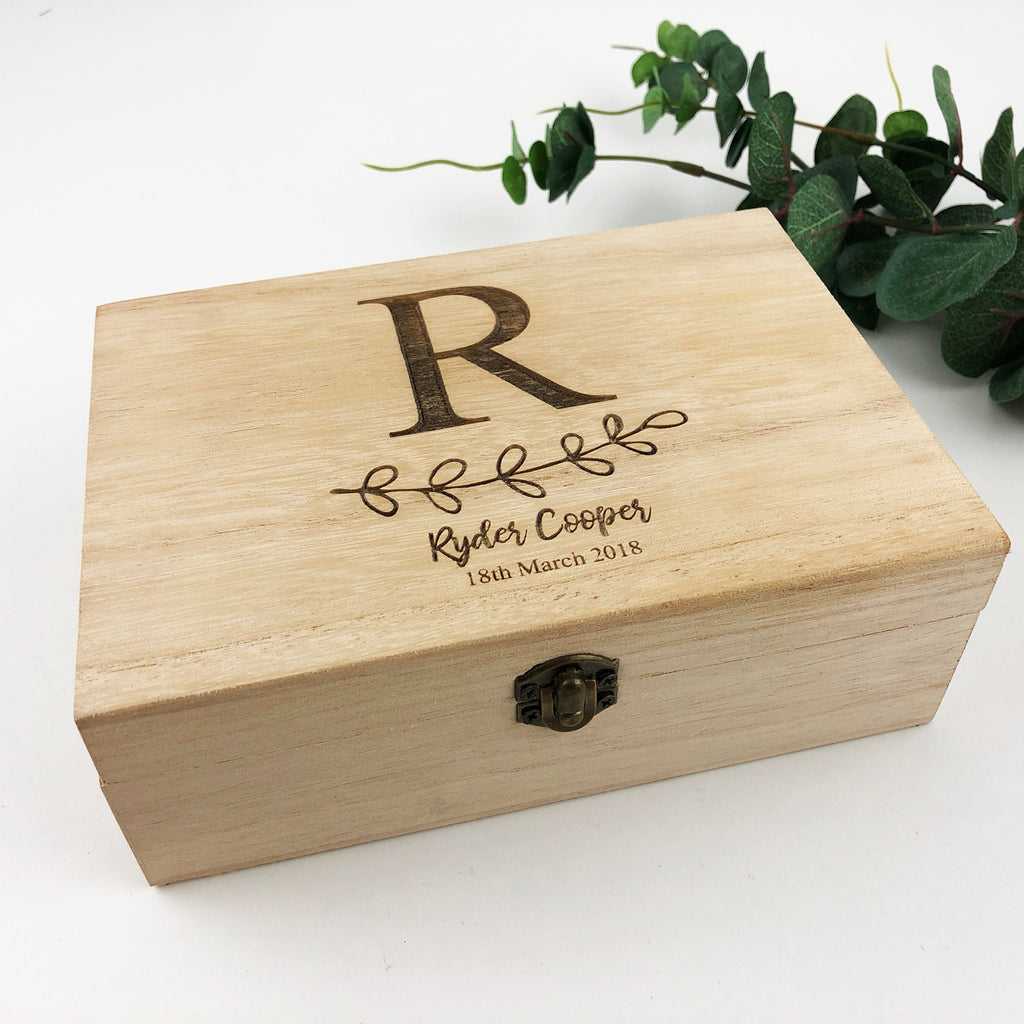Initial Leaves Keepsake Box