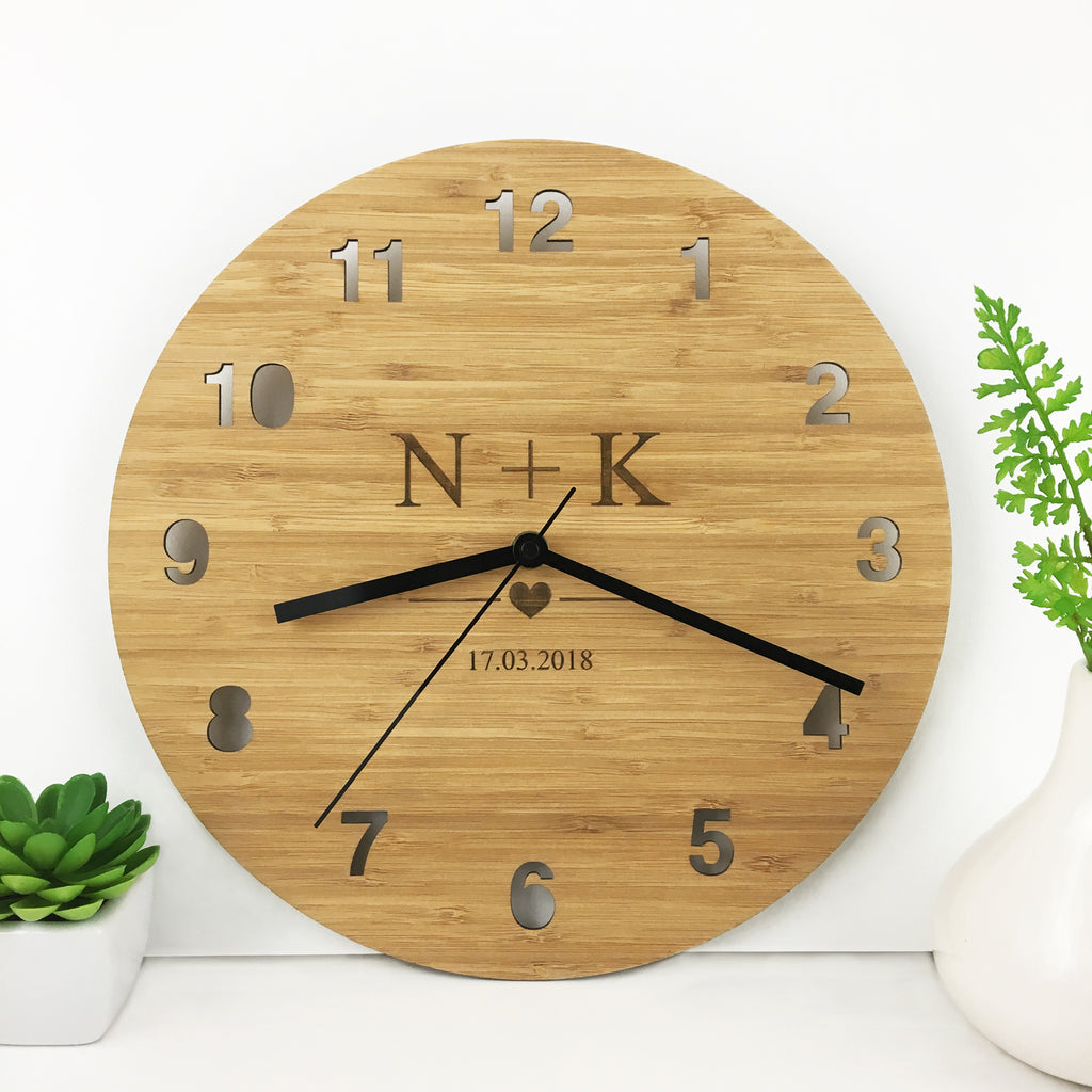 Initials Bamboo Clock – Colour and Spice Pty Ltd