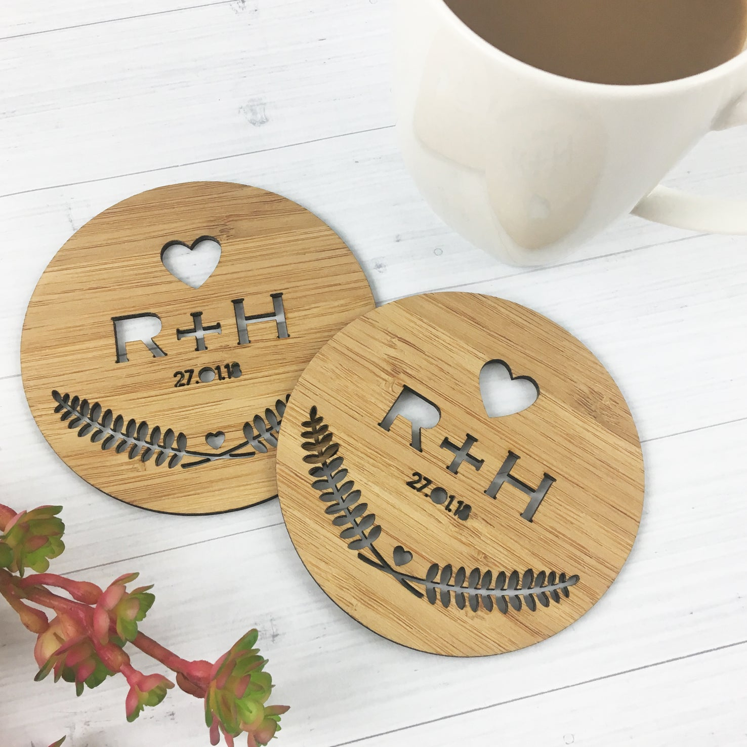 Set of 2 Initial Love Coasters