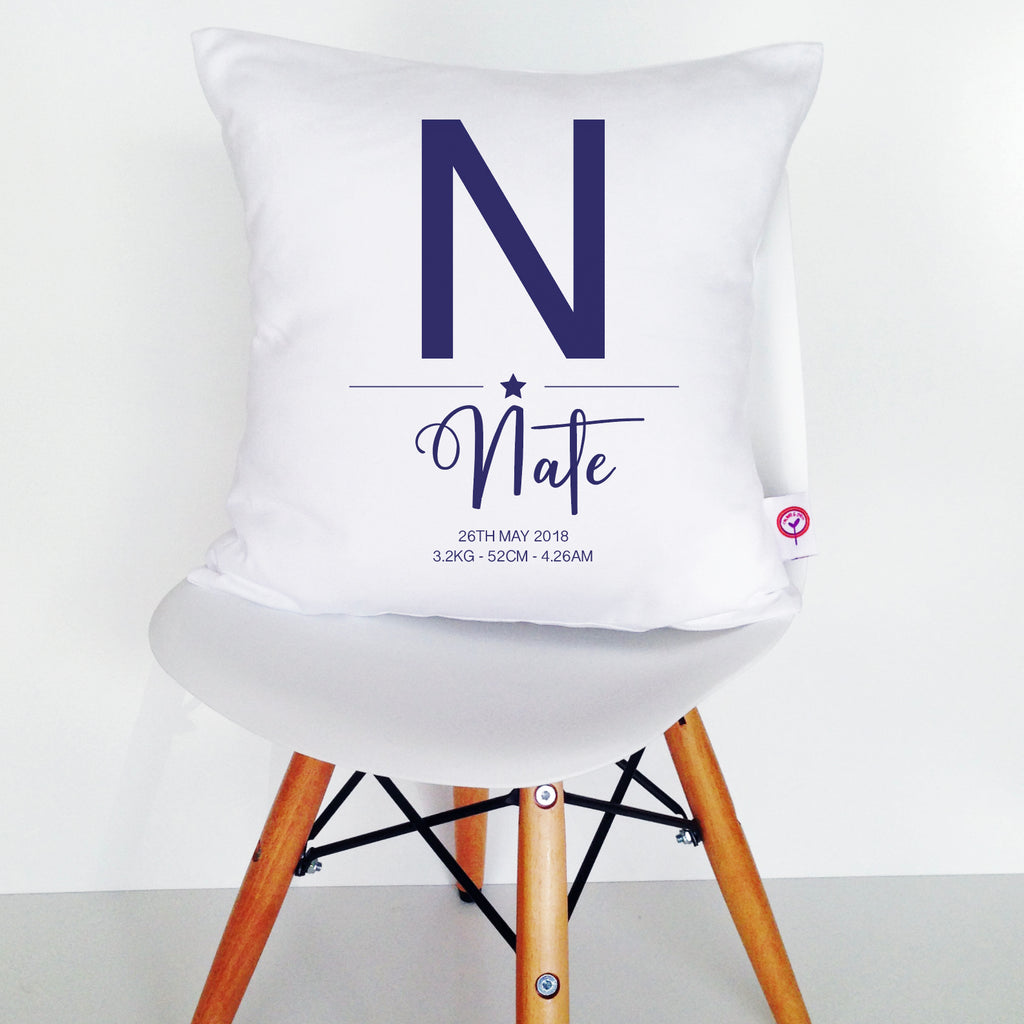 Boys' Initial Birth Details Cushion Cover - various colours