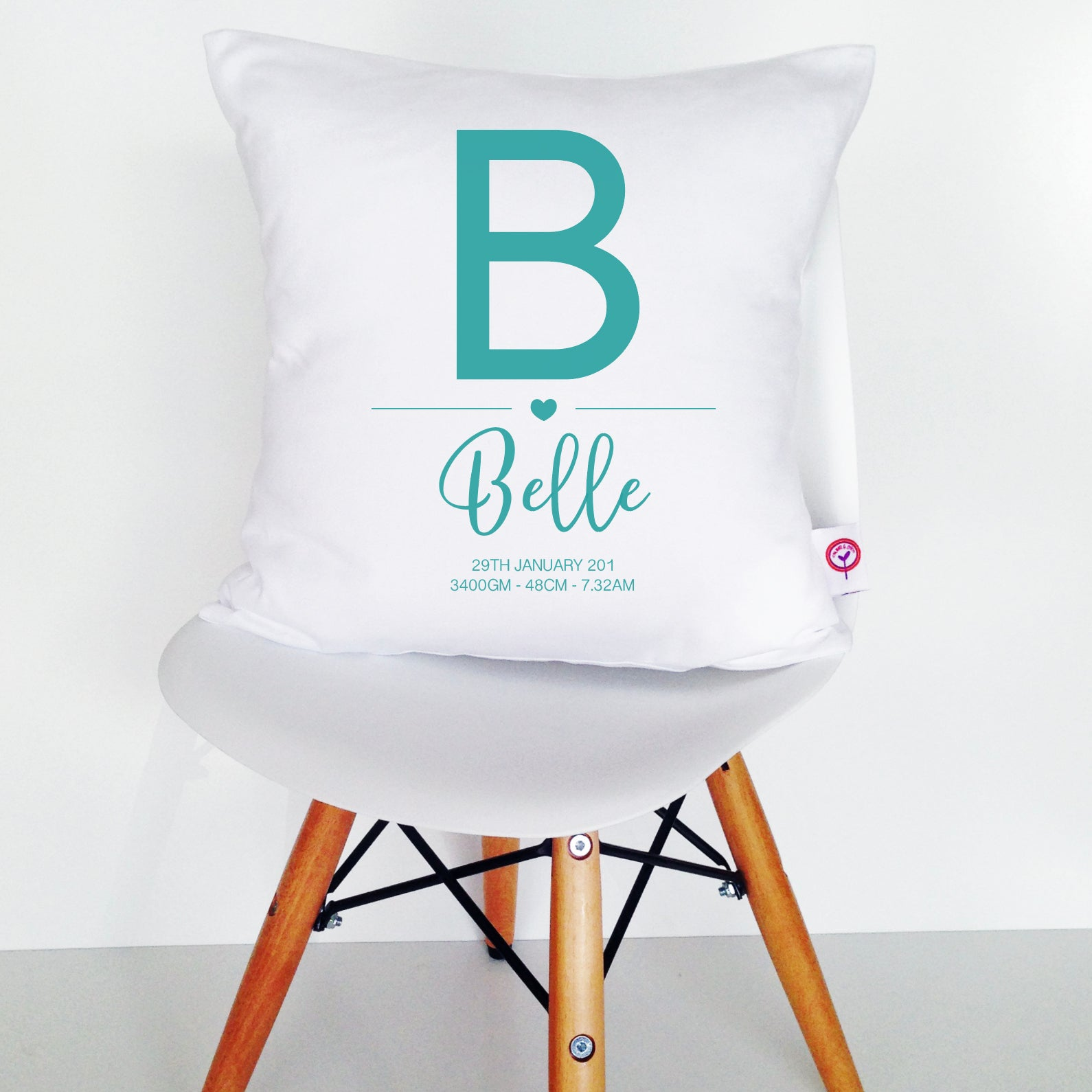 Girls' Initial Birth Details Cushion Cover - various colours