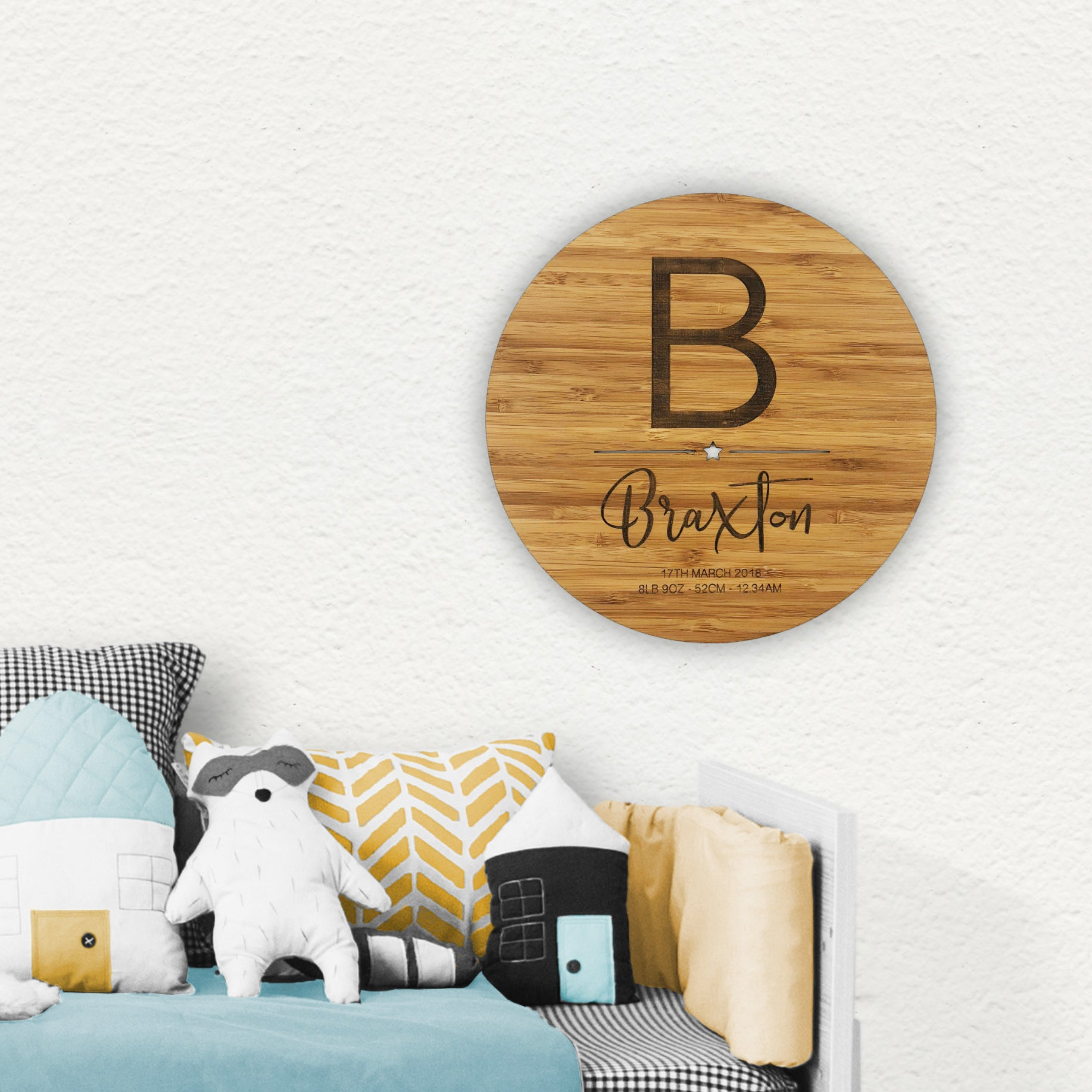 Initial Birth Details Wall Plaque - Boys