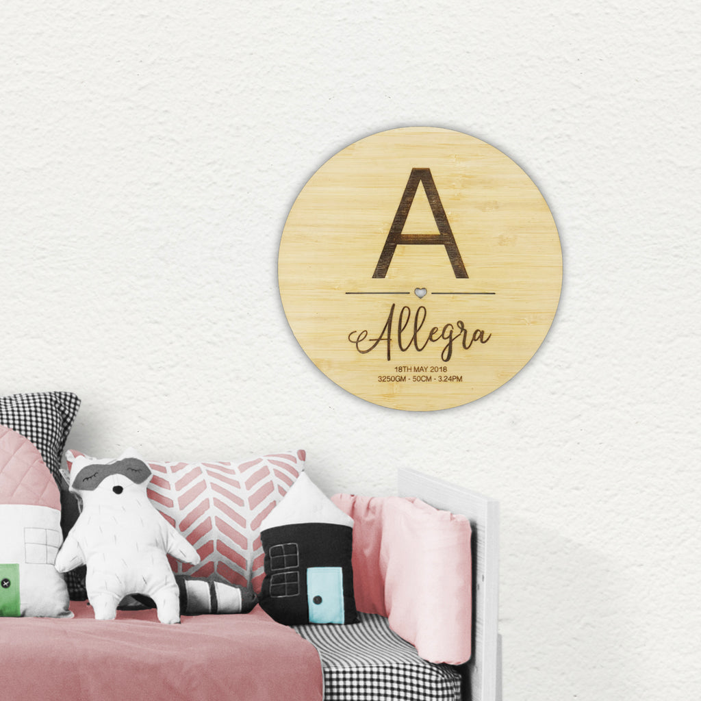 Initial Birth Details Wall Plaque - Girls