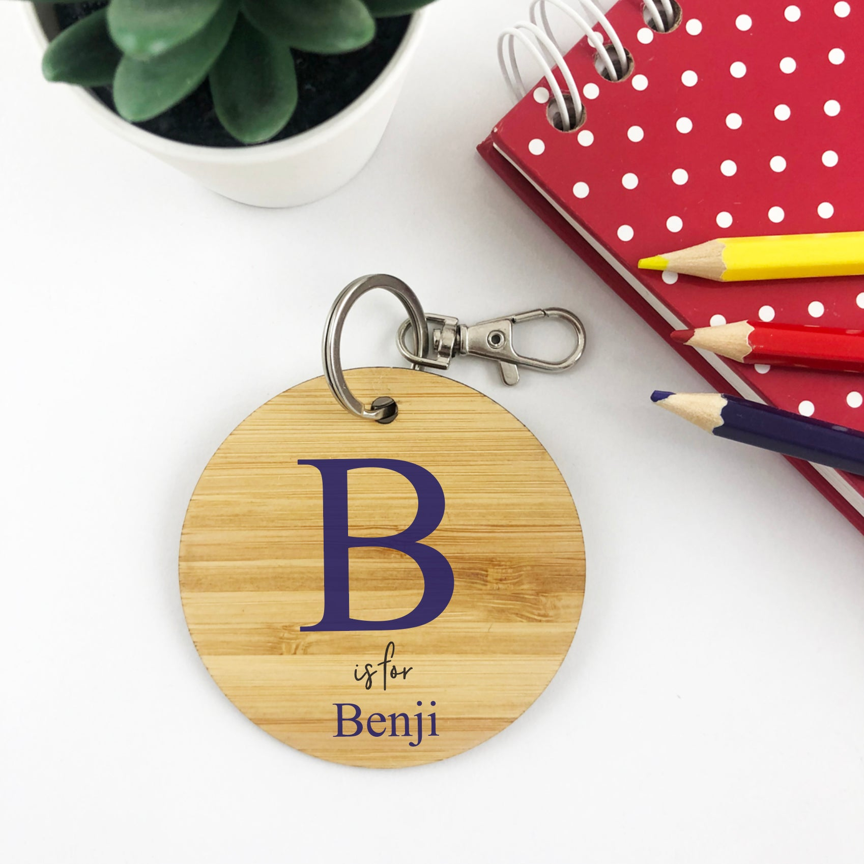 Blue Initials Personalised Bag Tag