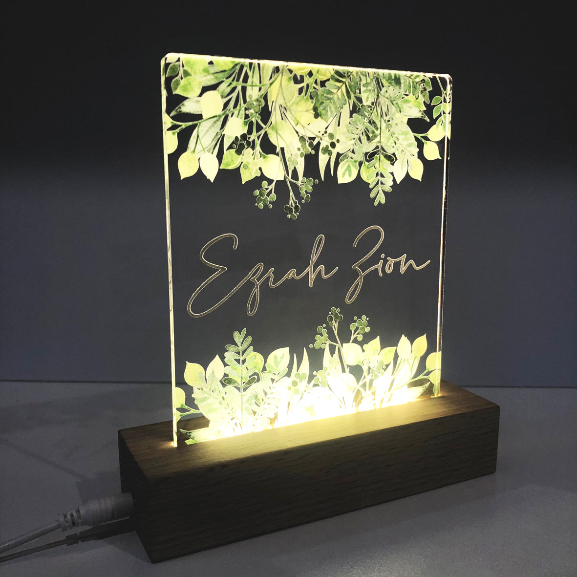 Jungle Leaves Personalised Night Light