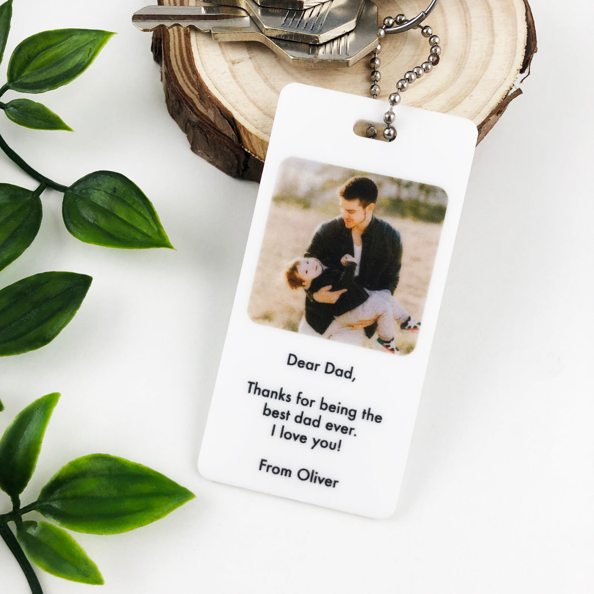 Personalised White Acrylic Photo Keyring