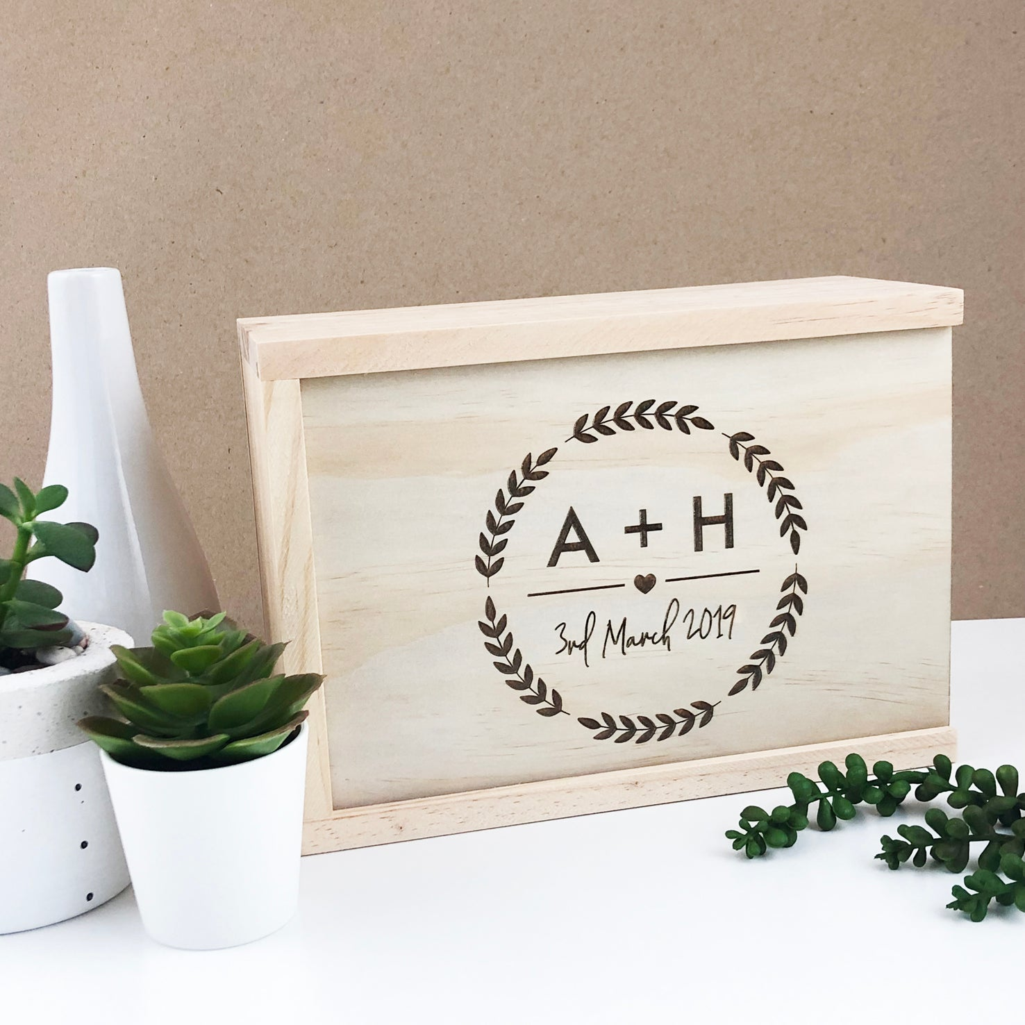 Initial Wreath Keepsake Box