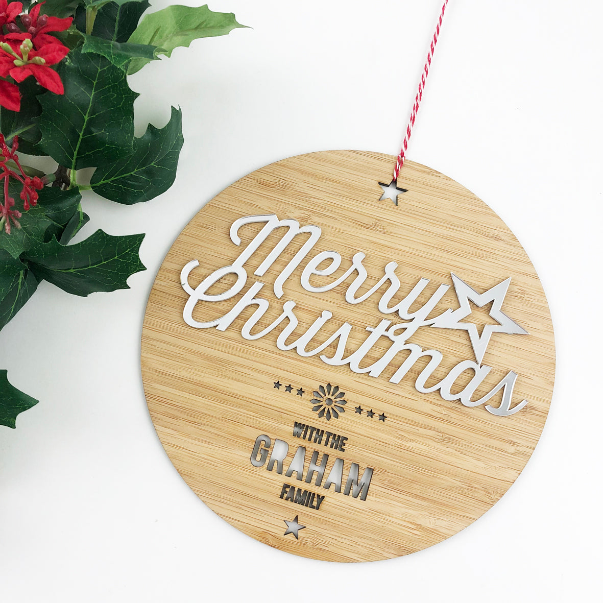 Merry Christmas Mirror Family Wall Hanging