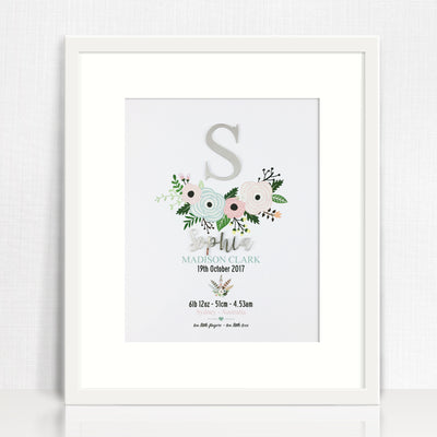 Mirror (Silver) Flowers Birth Print