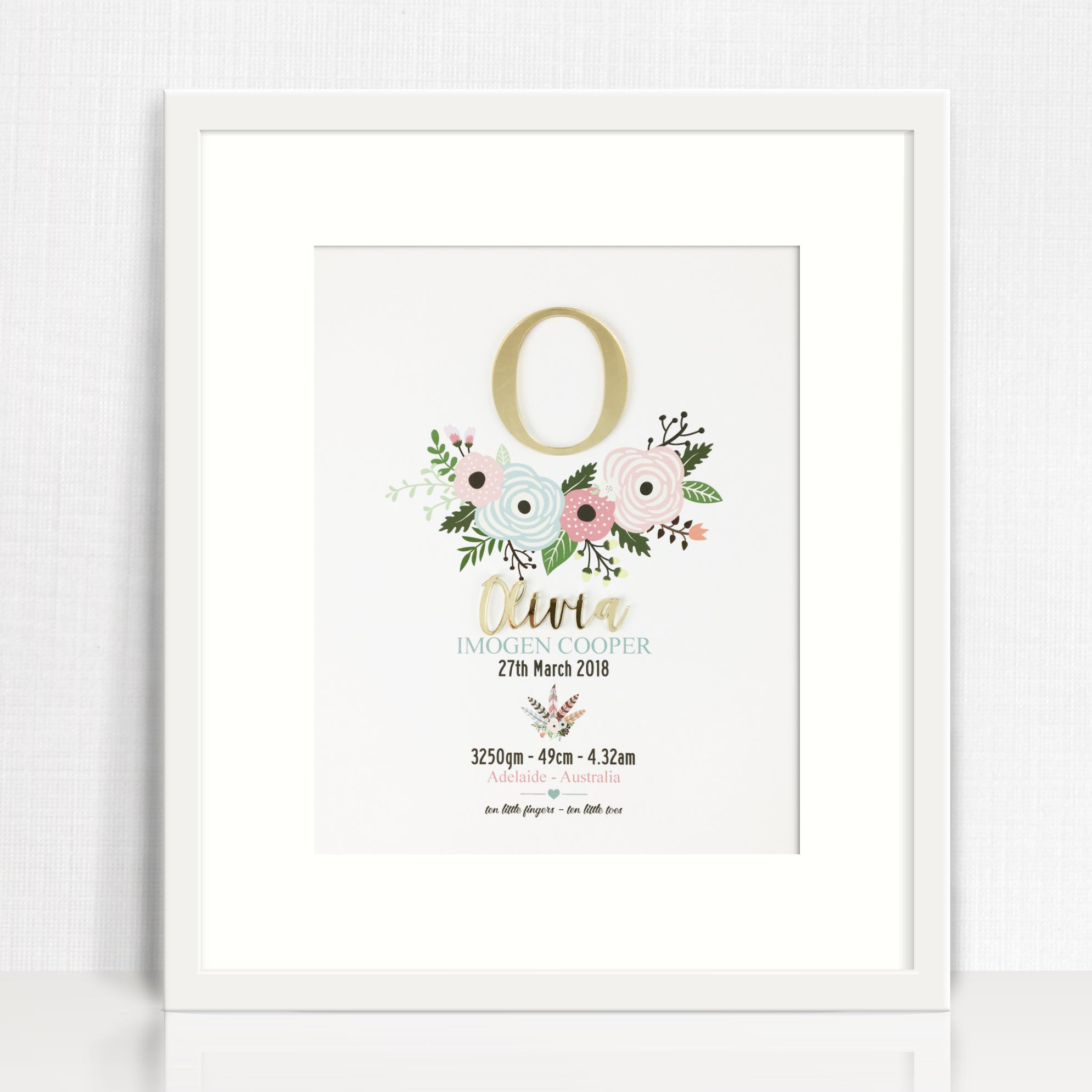 Mirror (Gold) Flowers Birth Print