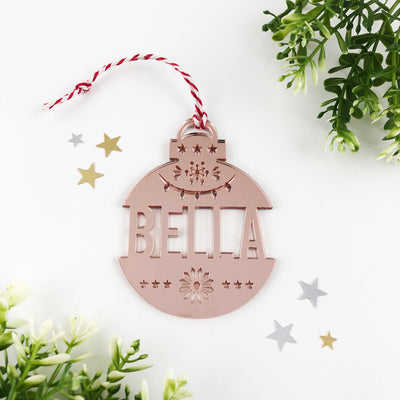 Christmas Acrylic Detailed Name Ornaments (various colours)