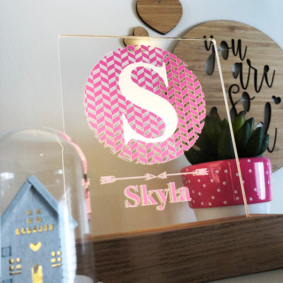 Girls Monogram Personalised Night Light