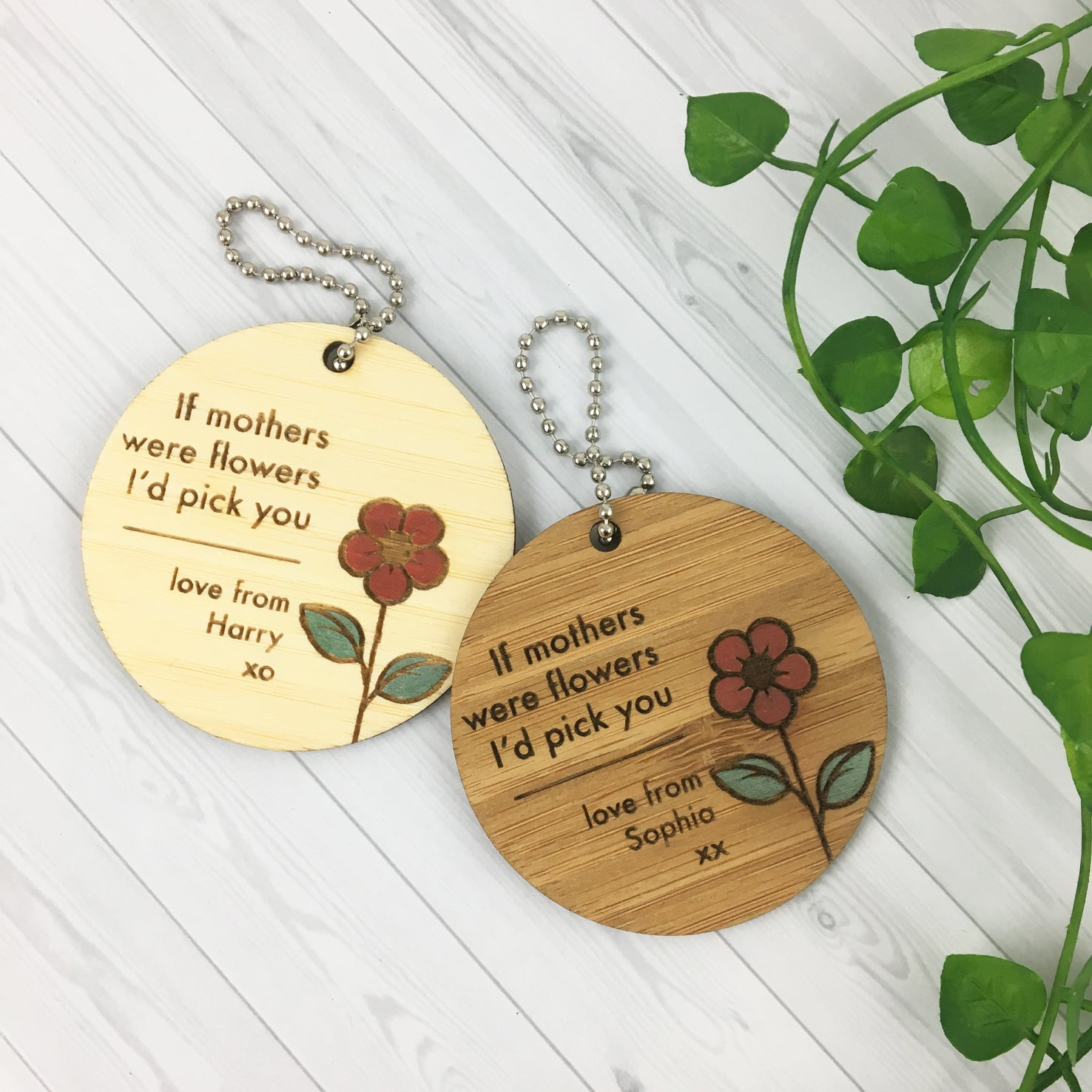 If Mothers Were Flowers Personalised Bamboo Keyring