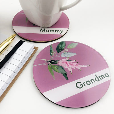 Double Sided Floral Personalised Drink Coaster