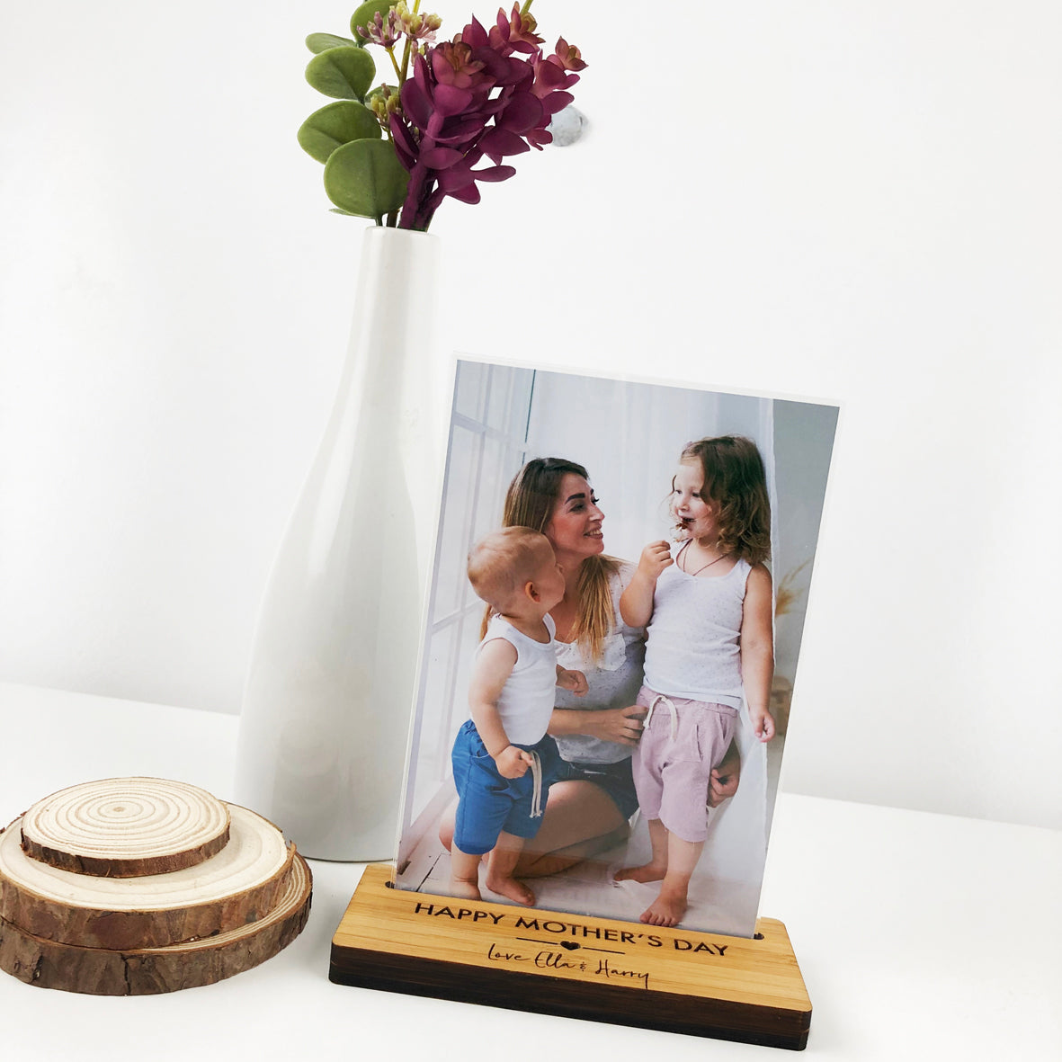 Personalised Heart Bamboo Photo Stand