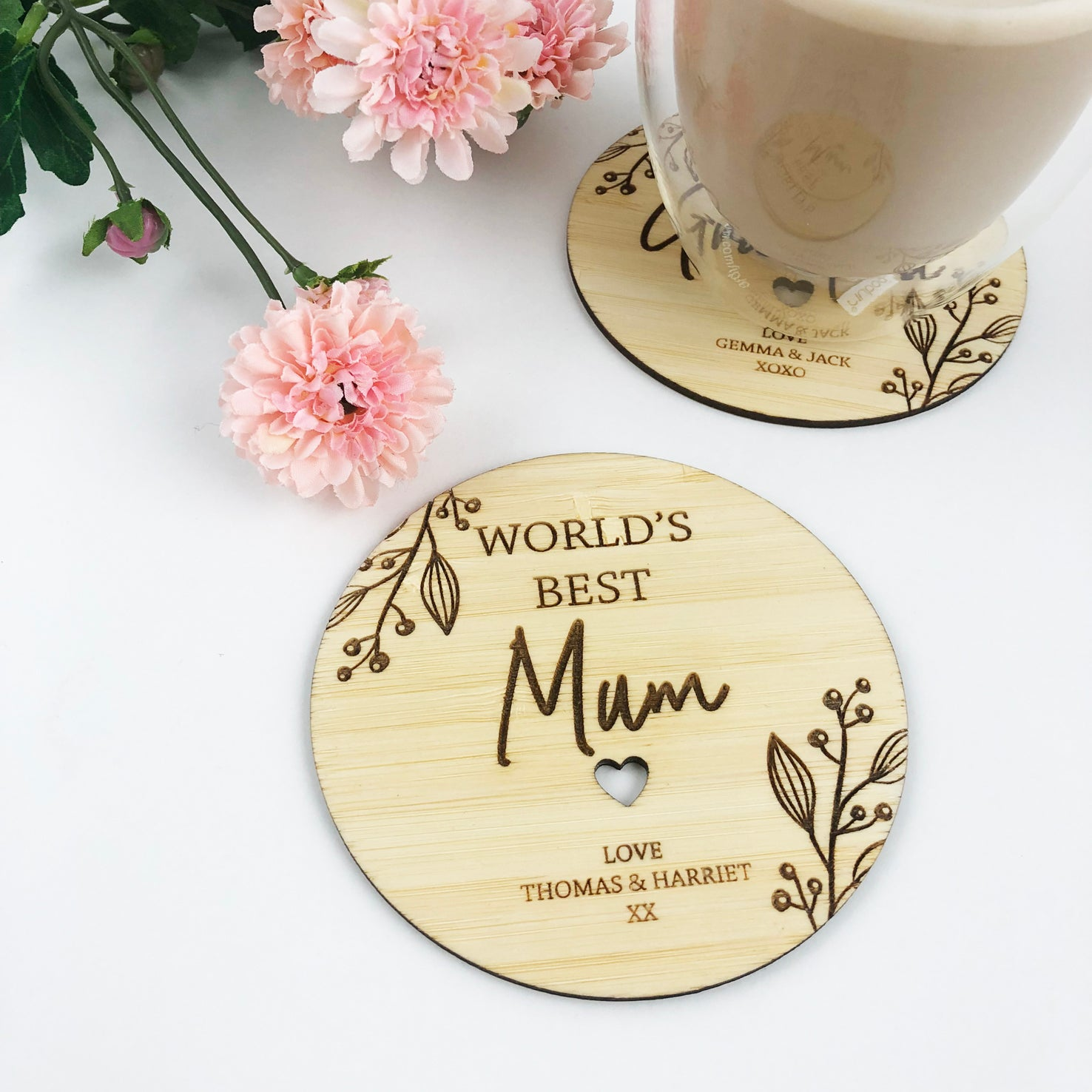 World's Best Flourish Etched Drink Coaster