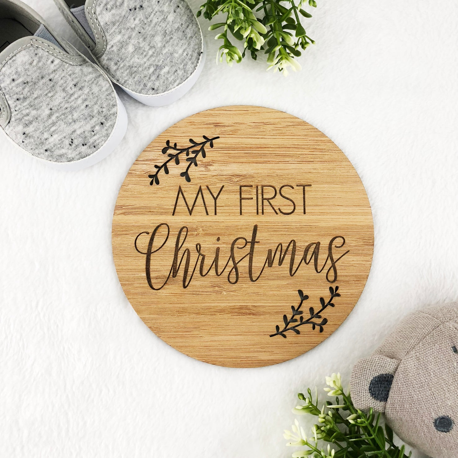 My First Christmas Bamboo Plaque