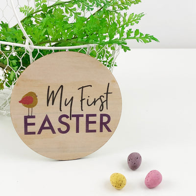 Printed First Easter Plaque (wood)