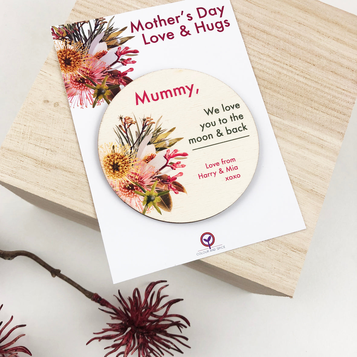 Personalised Native Mother's Day Magnetic Token