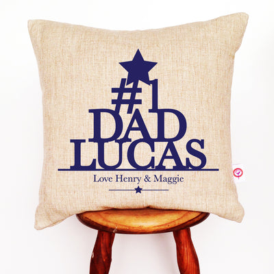 Number One Dad Linen Cushion Cover - various colours