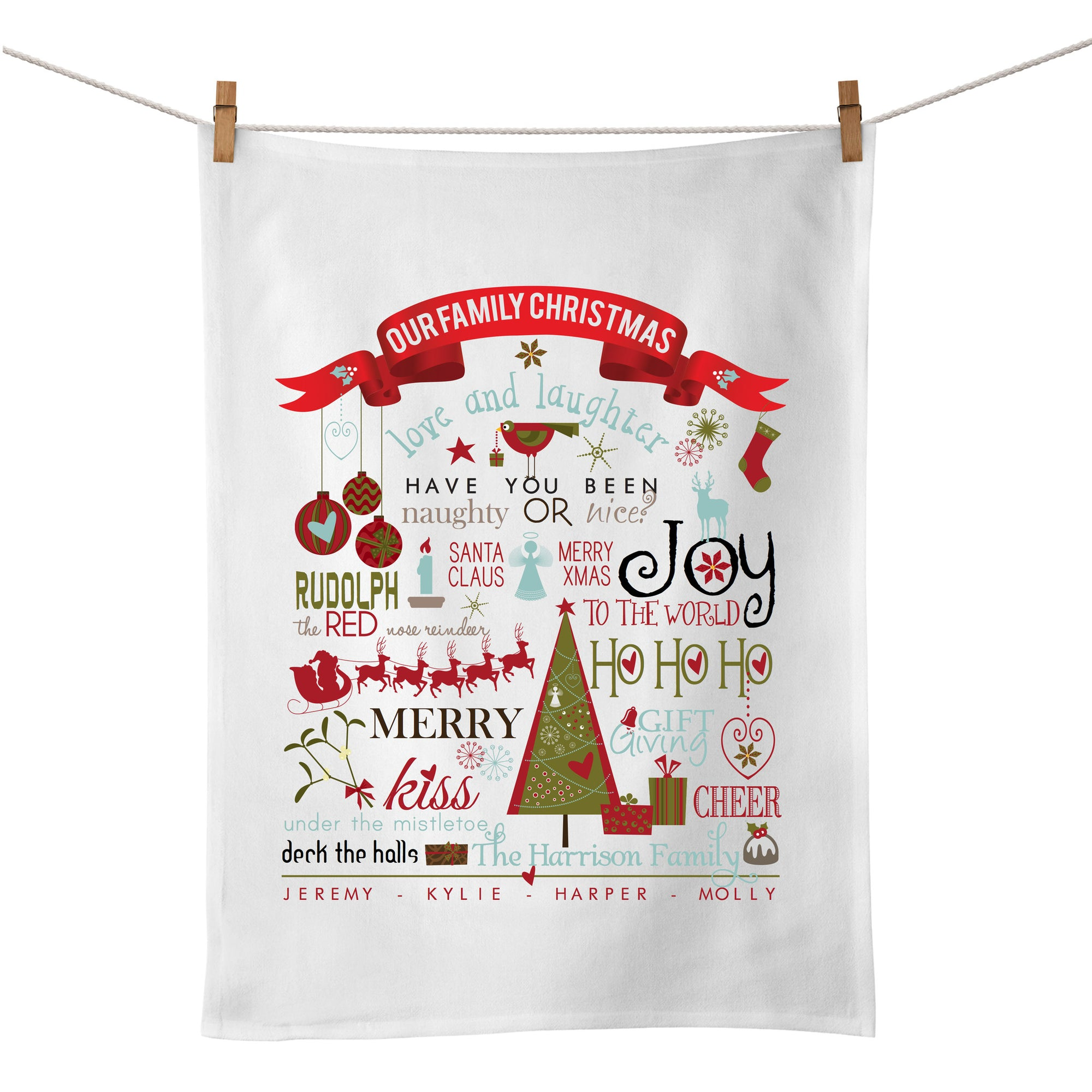 Our Family Christmas Tea Towel