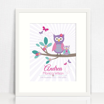 Owls On A Branch Birth Print