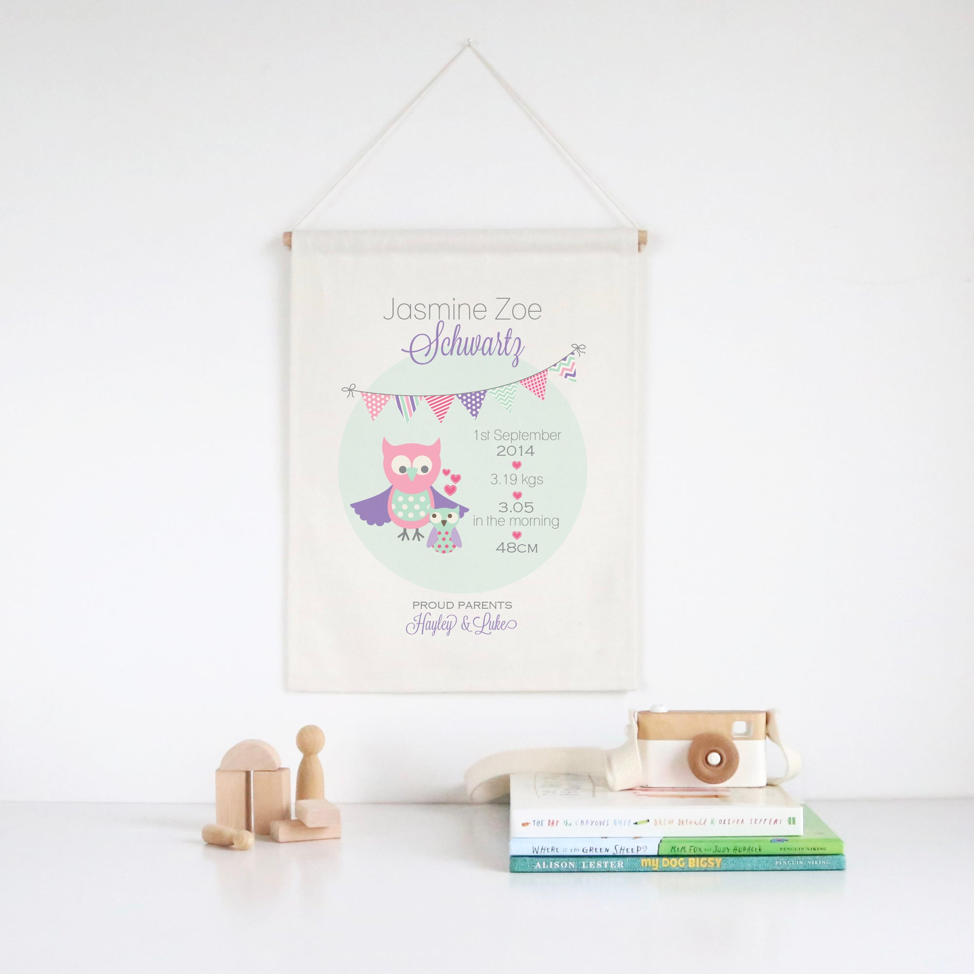Owls Birth Print Wall Banner