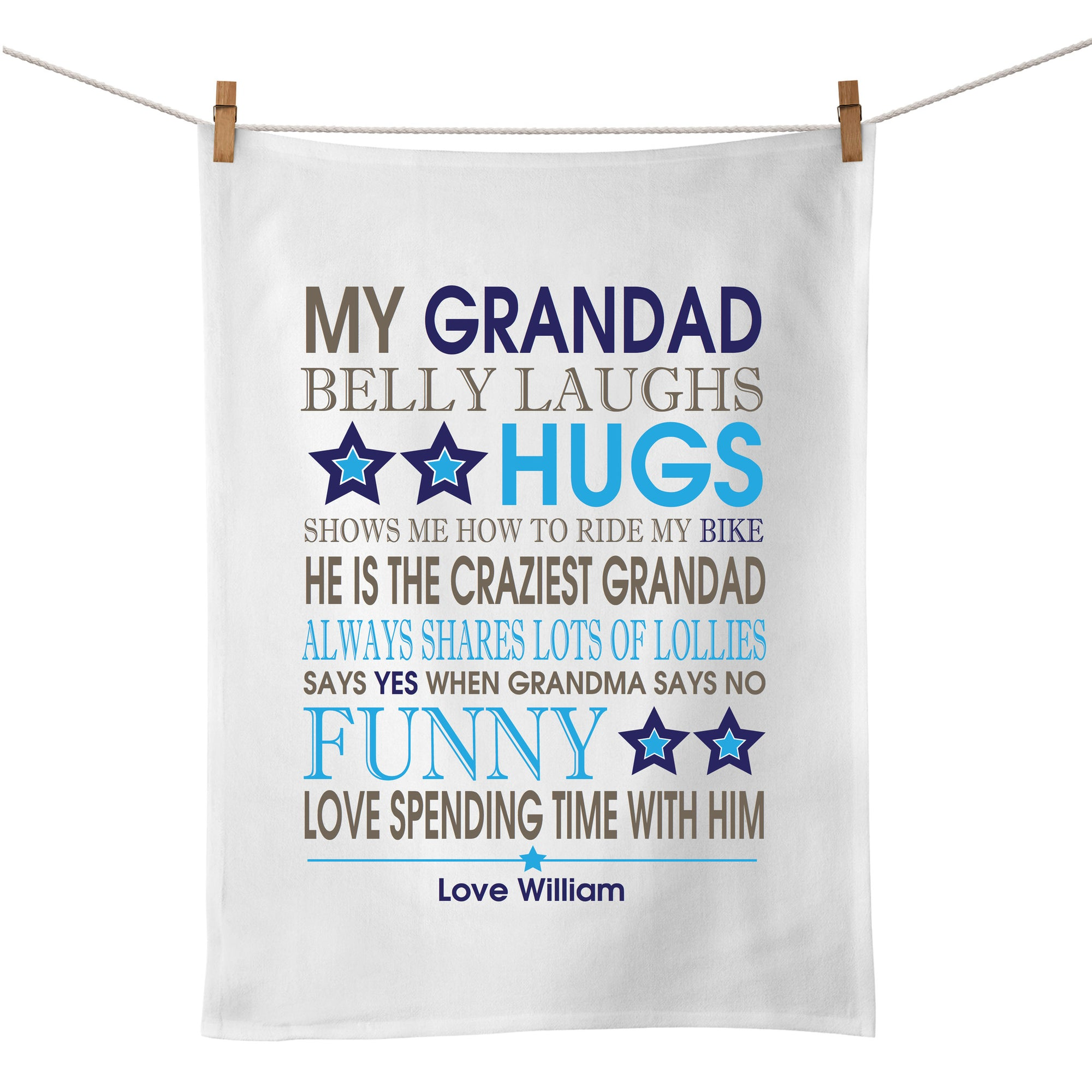 Personalised Bus Scroll Tea Towel (blue/navy)