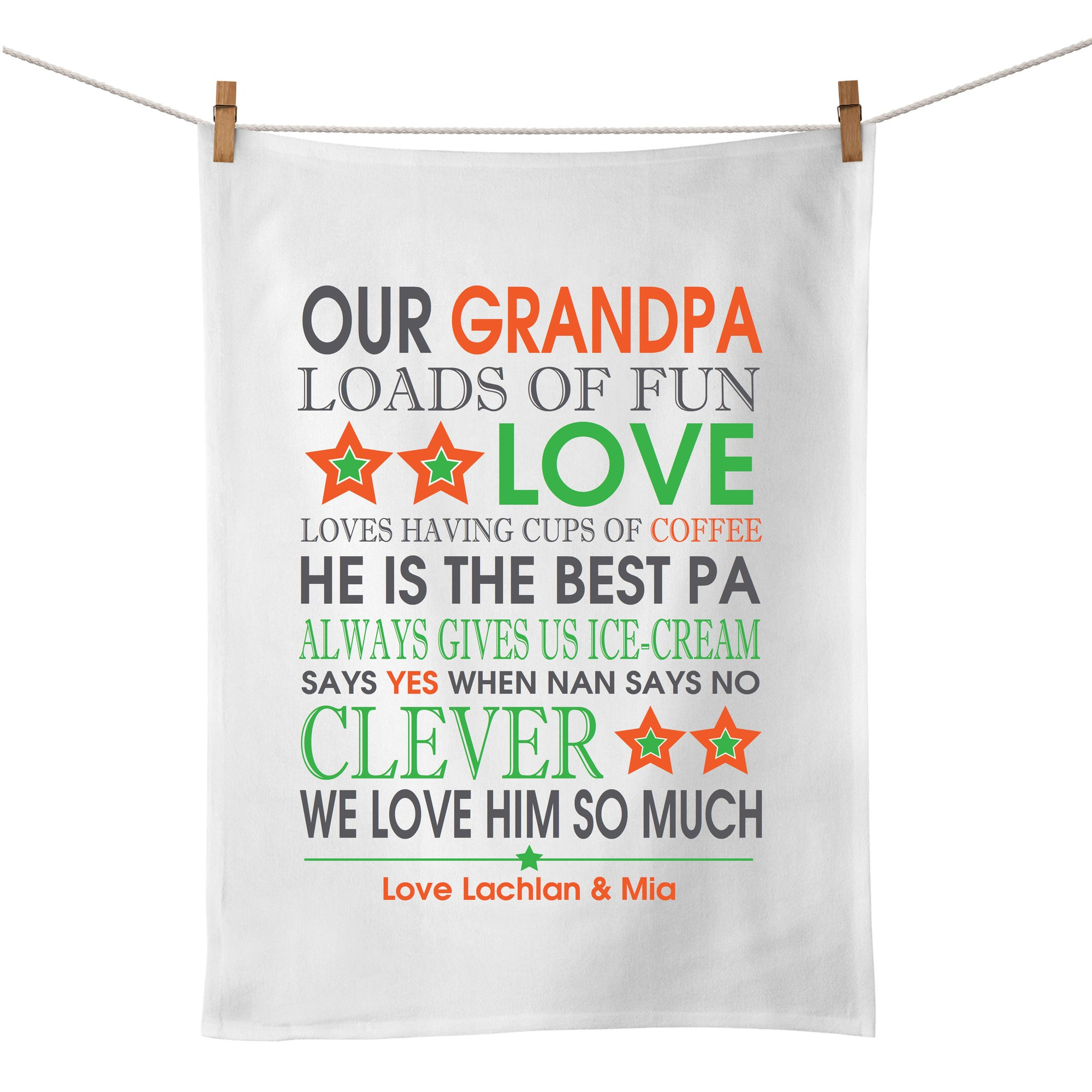 Personalised Bus Scroll Tea Towel (orange/green)