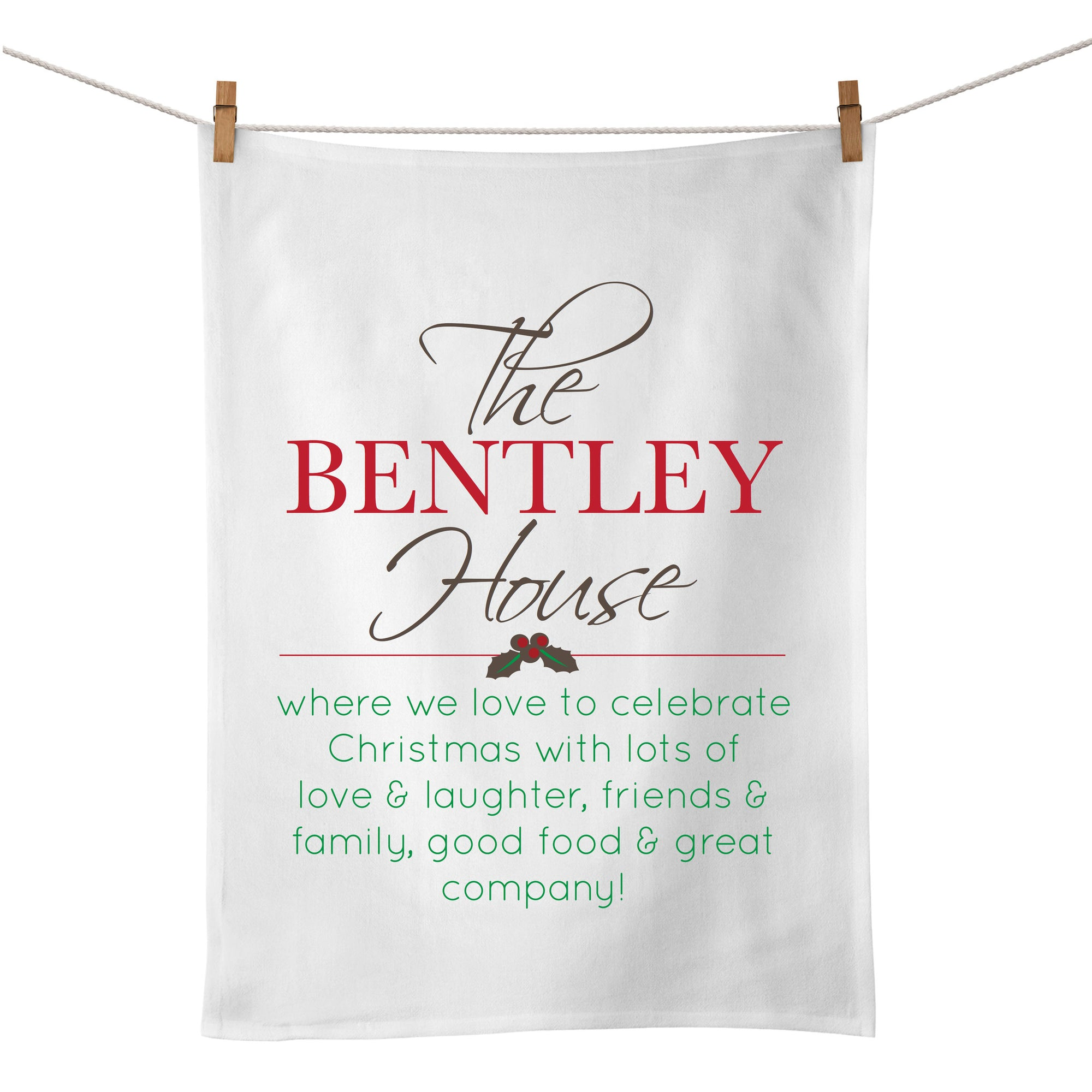 Personalised Christmas Tea Towel
